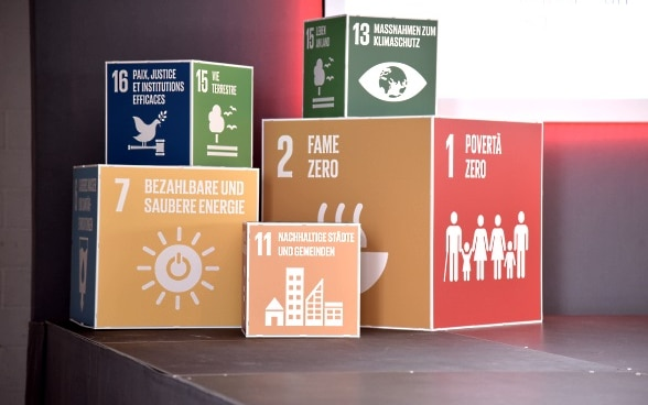 The coloured cubes display various sustainable development goals in different national languages.