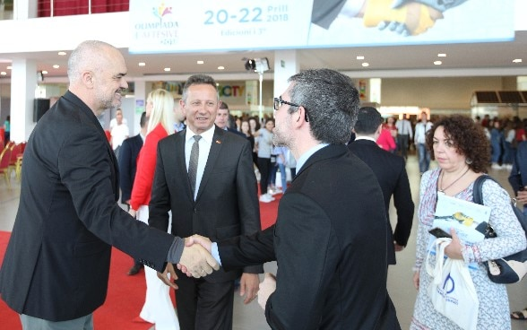 Albania's PM Edi Rama with Swiss Ambassador Christoph Graf at the national skills fair in Tirana, 20 April 2018.
