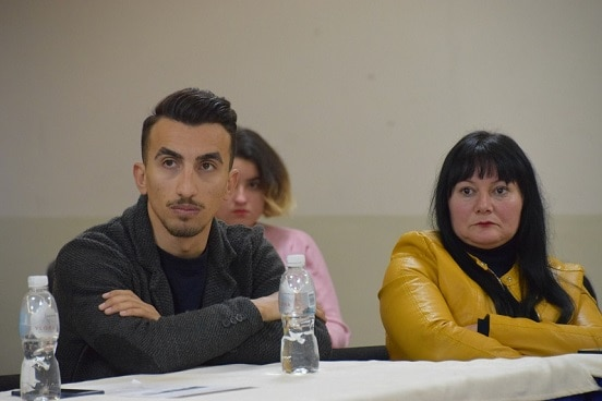 Activists and municipal councillors during the presentation of the online application for municipal budget participation, Vlora, Albania