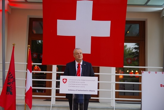 Swiss Ambassador in Albania Adrian Maître addressing guest at the reception celebrating the Swiss National Day. Tirana, 25.07.2019.