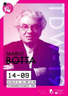 Poster showing Swiss architect Mario Botta