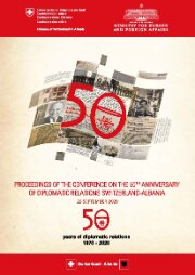 Cover of the publication from the conference on 50 years of diplomatic relations Switzerland - Albania