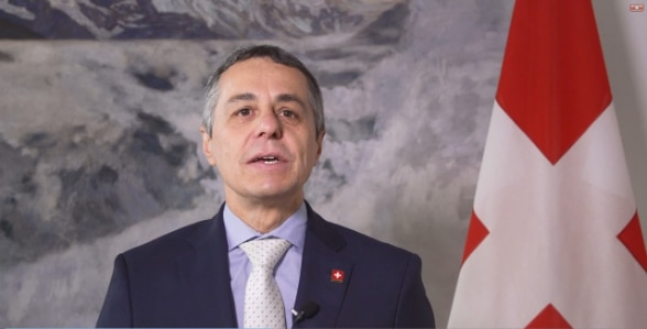 Federal Councillor Ignazio Cassis sent a video greeting to the conference celebrating 50 years of diplomatic relations between Switzerland and Albania.