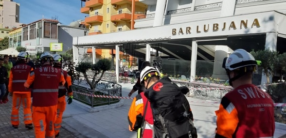 Swiss engineer team assists the evaluation of a hotel building damaged by the earthquake near Durrës, Albania, 27 November 2019