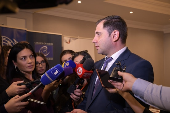 "Minister Suren Papikyan at the Launch event of the ""Improvement of the Local Self-Governance System in Armenia"" program's second phase"