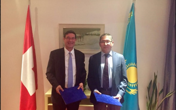State Secretary Dell'Ambrogio and MInister Education and Science of Kazakhstan, Mr. Yerlan Sadiyev during visit in Astana 2017