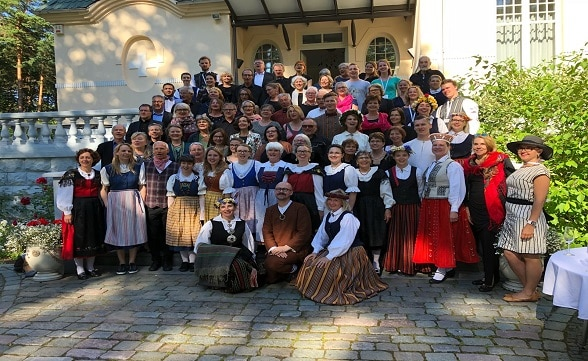 Reception of Swiss and Latvian choirs at the Swiss Residence during the Song and Dance Festival in Mezaparks, Riga.