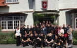 The Top Secret Drum Corps from Basel is received at the Swiss Residence © FDFA