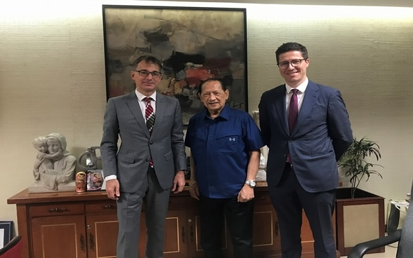 "Ambassador Alain Gaschen and Deputy Head of Mission Mathias Domenig with Hon. Arsenio ""Nick"" Lizaso, Chairman of the National Commission for Culture and the Arts (NCCA) and President of the Cultural Center of the Philippines (CCP)"