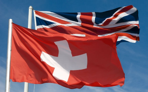 The Swiss flag and the Union Jack
