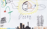 Drawing by a Syrian refugee child on the invitation card to the Annual Conference of Swiss Humanitarian Aid and the Swiss Humanitarian Aid Unit