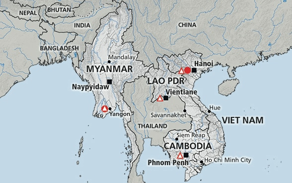 Map of the region Mekong (Laos, Vietnam, Cambodia, Myanmar)