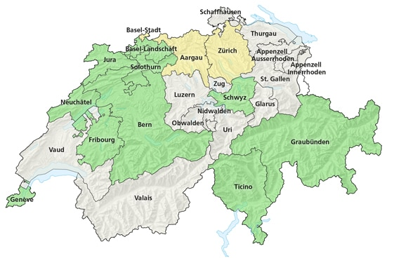 Map of Switzerland indicating in green those cantons that permit Swiss citizens living abroad to participate in their votes and elections: Geneva, Neuchâtel, Fribourg, Bern, Jura, Solothurn, Basel Land, Schwyz, Graubünden, Ticino. The cantons in yellow (Zurich and Basel Stadt) only permit Swiss citizens living abroad to participate in elections to their upper chamber.