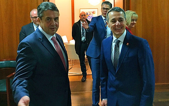 The head of the FDFA, Ignazio Cassis meets German Foreign Minister Sigmar Gabriel.