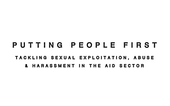 Logo della conferenza: «Putting people first. Tackling sexual exploitation, abuse and harassment in the aid sector.»