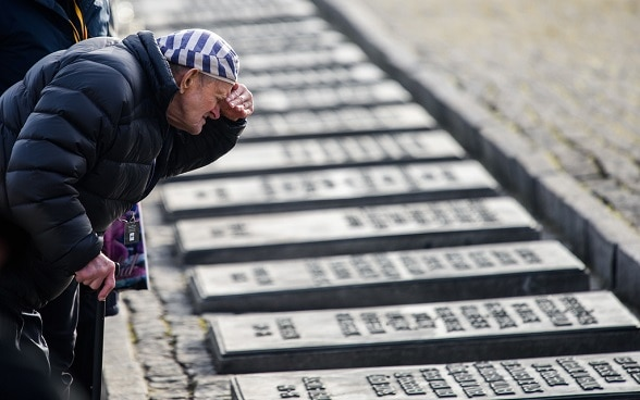 A Holocaust Survivor is looking at memorial stones of victims.