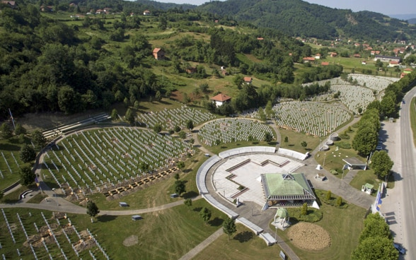 Aerial view of the Potocari Memorial Center in Srebrenica.