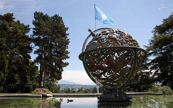 Image of the Armillary Sphere before the Palais des Nations, Geneva