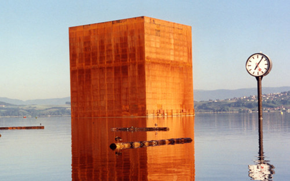 "The ""Monolith"" made of rusty steel by Jean Nouvel on Lake Morat at Expo.02"