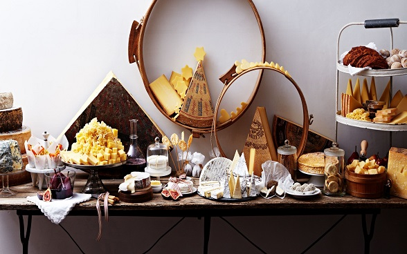 A table of Switzerland's best-known cheeses.