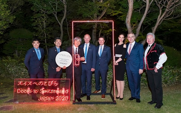 (From left) Mr. Ikko Ando (Japanese Information Bureau), Mr. Ichiro Ando (Japanese Information Bureau / Director), Mr. Isamu Tatsuno (Montbell / CEO), Mr. Peter Egger (Jungfrau Region Tourism / President), Mr. Bruno Hauswirth (Grindelwald Tourism / Managing Director), Dr. Yulia Gusynina Paroz, Ambassador of Switzerland to Japan, Mr. Jean-François Paroz, Mr. Sämi Zumbrunn (Yodeller) ©Embassy of Switzerland in Japan