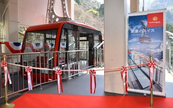 The new Swiss-made gondola before it made its way to the top of Mount Rokko. ©Kobe Housing & Urban Development Corporation