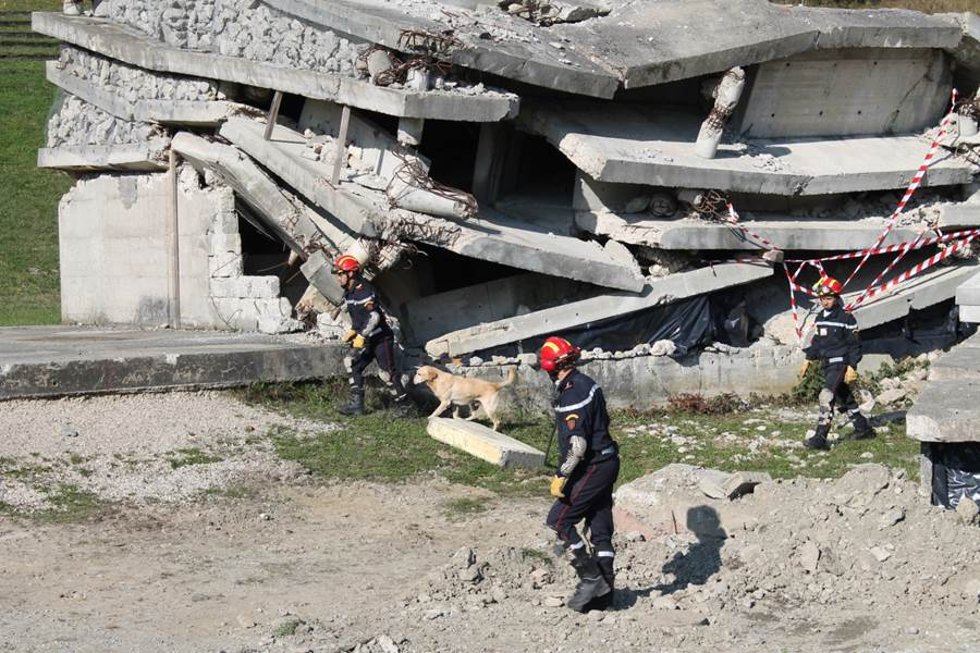 three Moroccan rescue workers and a dog in front of a destroyed building.