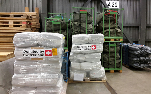 Crates of Swiss relief supplies for Nepal.