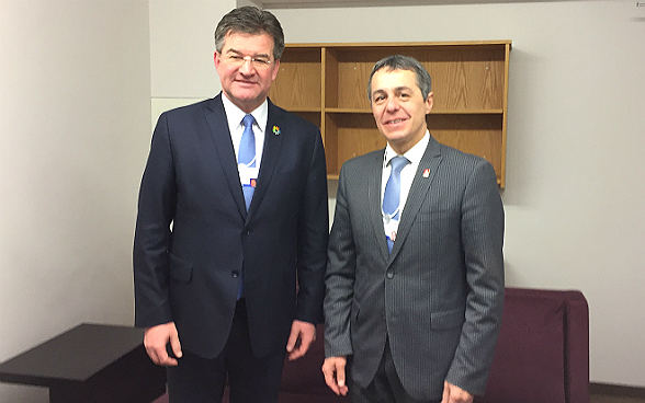 On the margins of the World Economic Forum, Federal Councilor Ignazio Cassis meets Miroslav Lajcak, president of the 72nd session of the UN General Assembly.